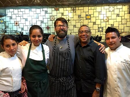Quincy with  Chef/Owner Donnie Masterson & his kitchen staff