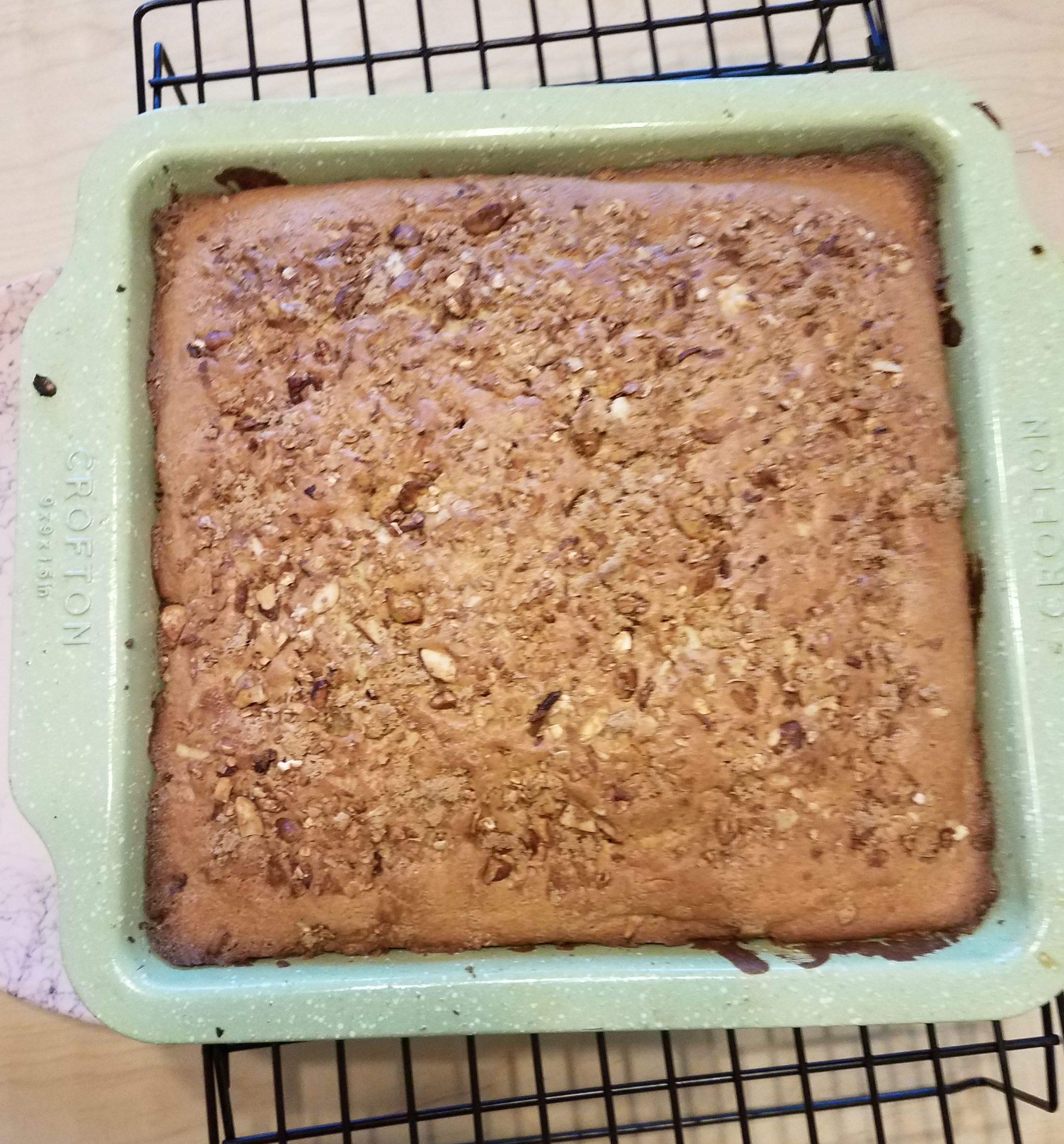 Finished Coffee Cake pulling at sides
