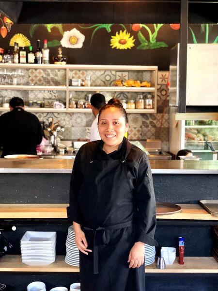 Mexicain Bistro Chef Ana and roasted red pepper soup