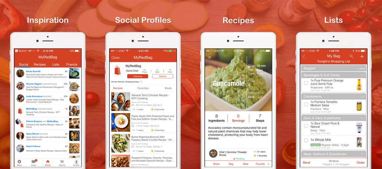 Recipes grocery lists ios app myredbag the experience surrounding food should be much more than the final act of eating deciding what to cook proper ingredients and the cooking itself are forumfinder Gallery