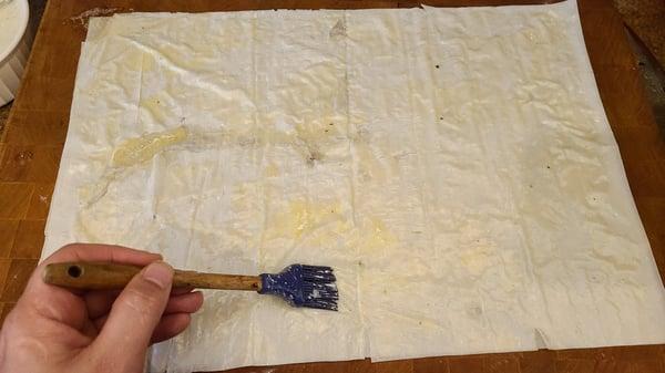 brush phyllo dough