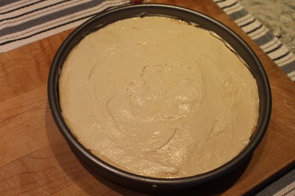 cake batter in pan