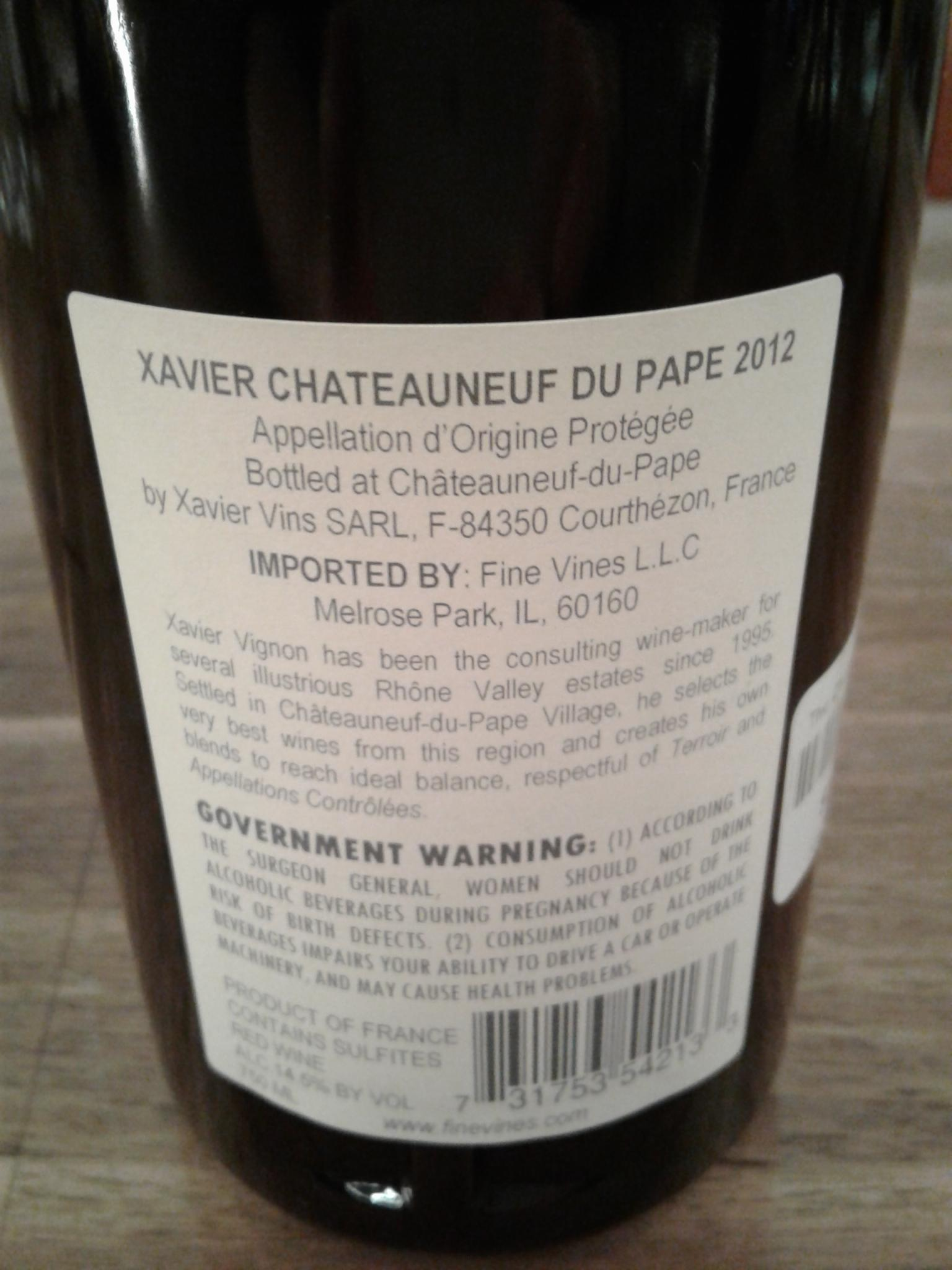chateauneuf du pape back label