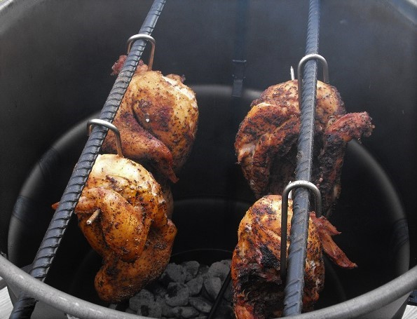 chickens in pit
