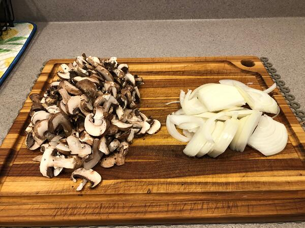 chopped mushrooms & onions