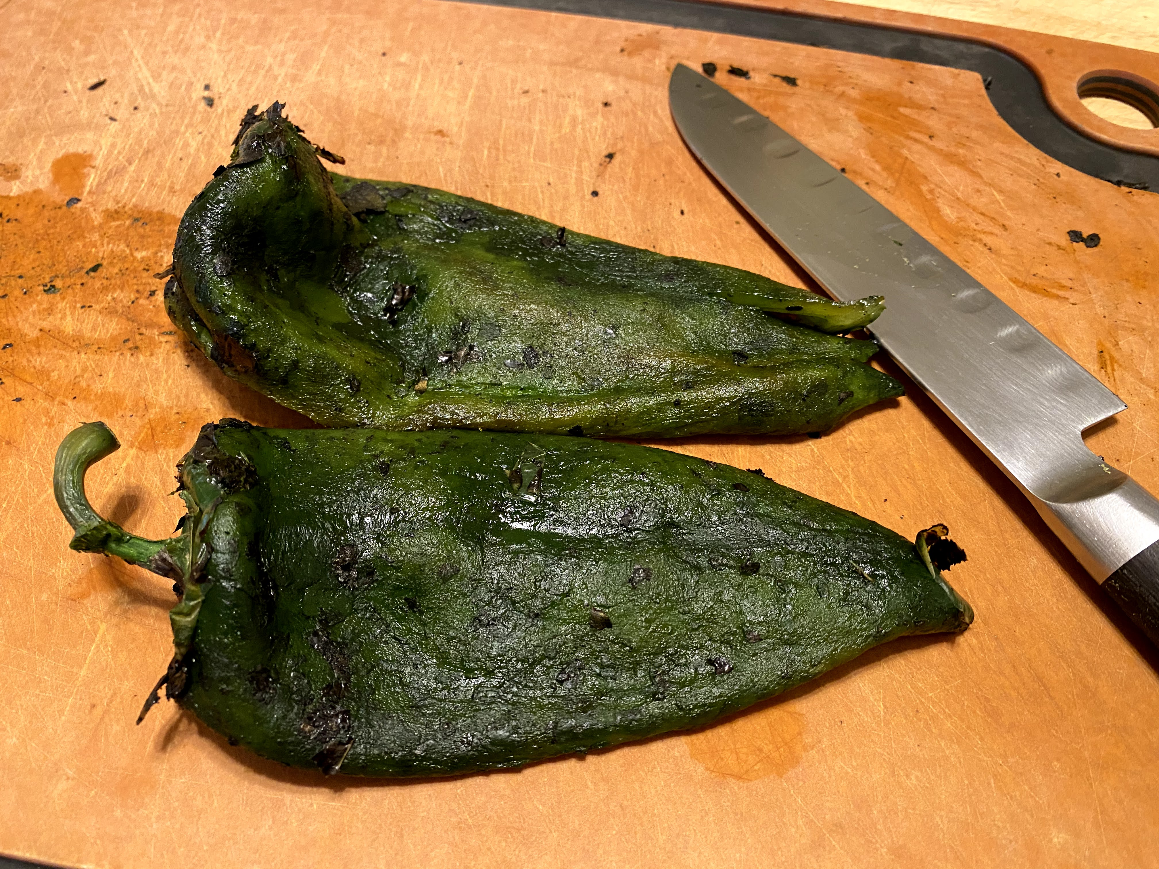 cleaned poblano pepper