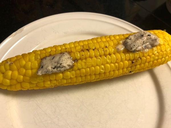 corn on the cob with black garlic