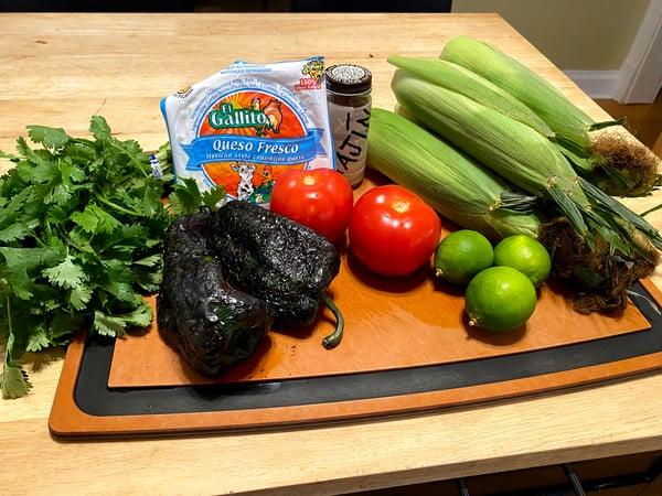 corn salad mise
