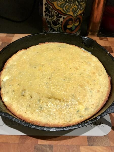 cornbread out of oven