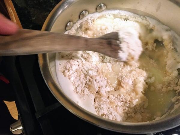 cruller mixing flour