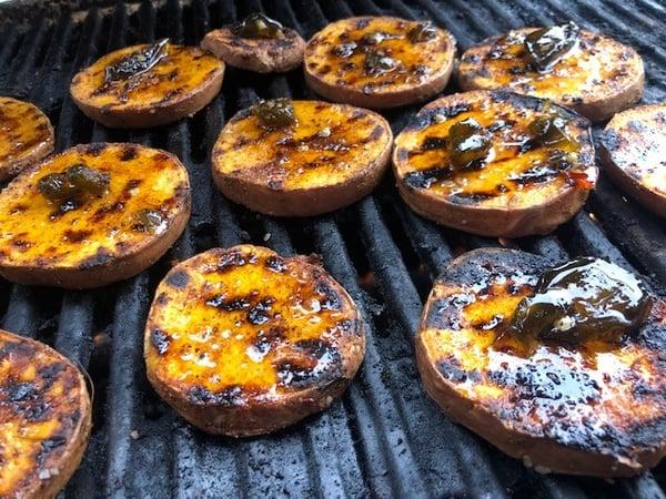 glazed potatoes on grill