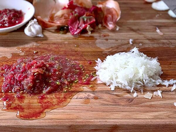 grated tomato and onion