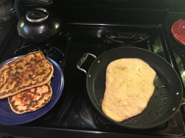 griddled naan dough