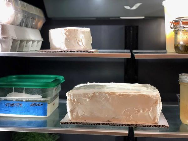iced cake in fridge