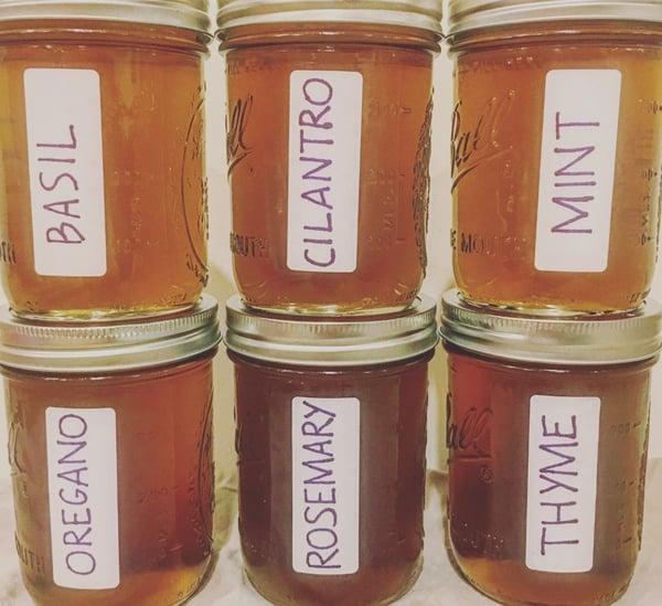jarred herb syrups
