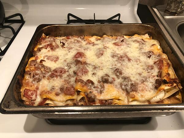 lasagna with melted cheese