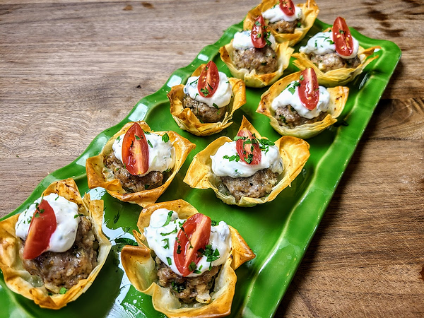 meatballs in phyllo cups