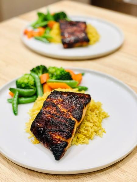 miso glazed salmon with steamed veggies