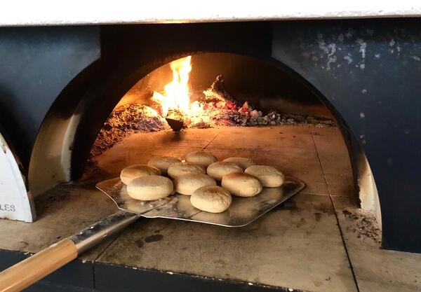 muffins in pizza oven
