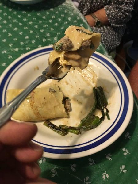 mushroom asparagus crepe