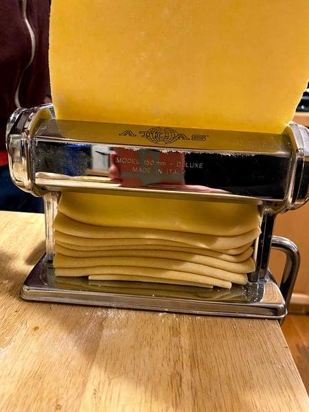 pasta in machine