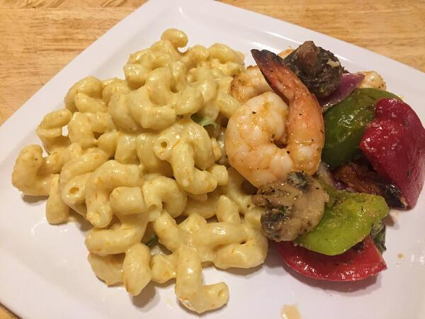 pasta with shrimp plated