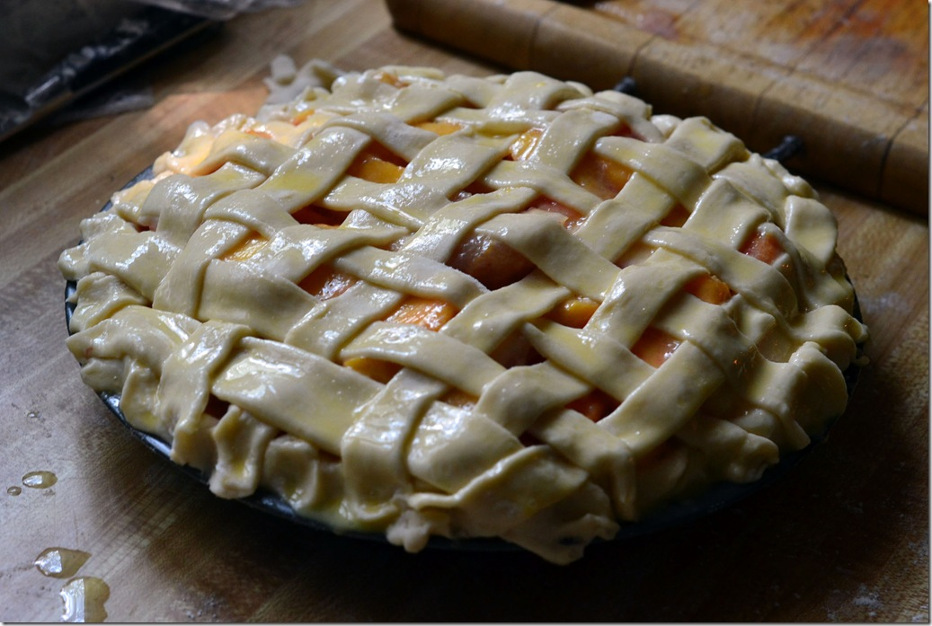 peach pie ready for oven