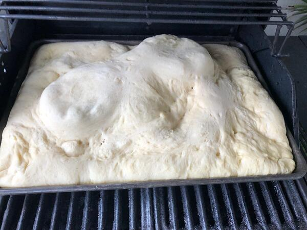 pizza dough on grill 2