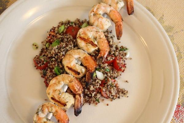 plated shrimp skewers
