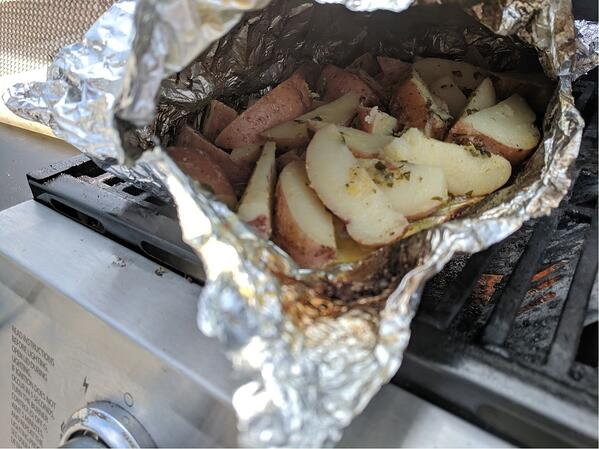 potatoes open on grill