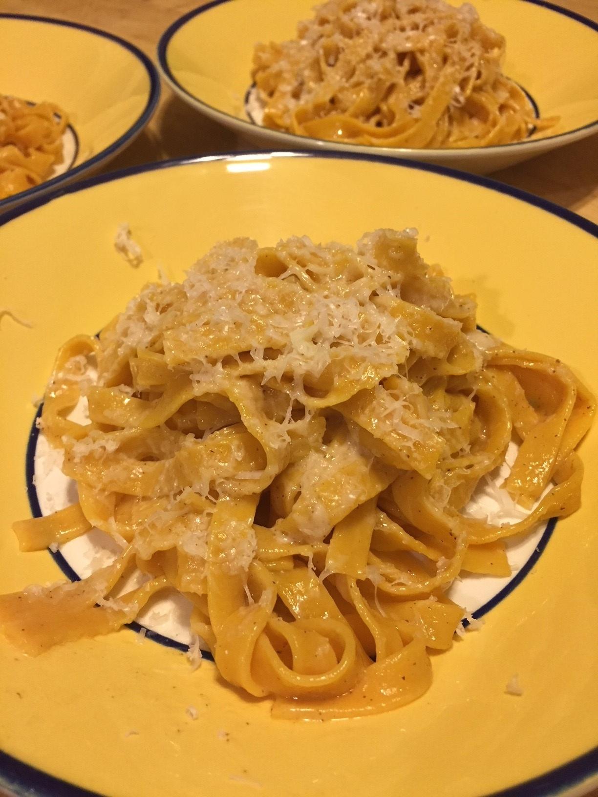 pumpkin pasta plated
