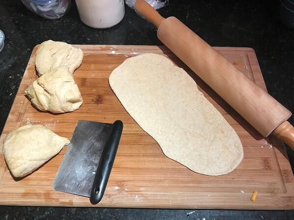 rolled naan dough