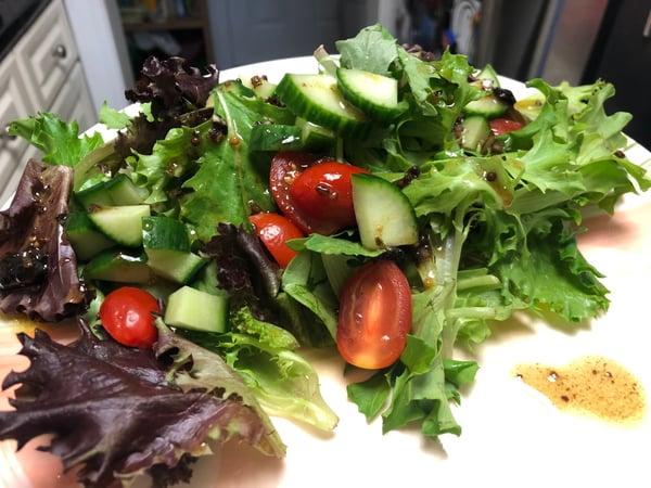 salad with black garlic vinaigrette