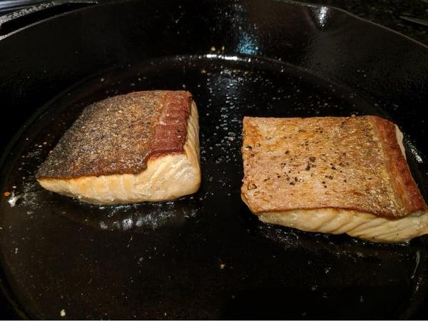 salmon flipped