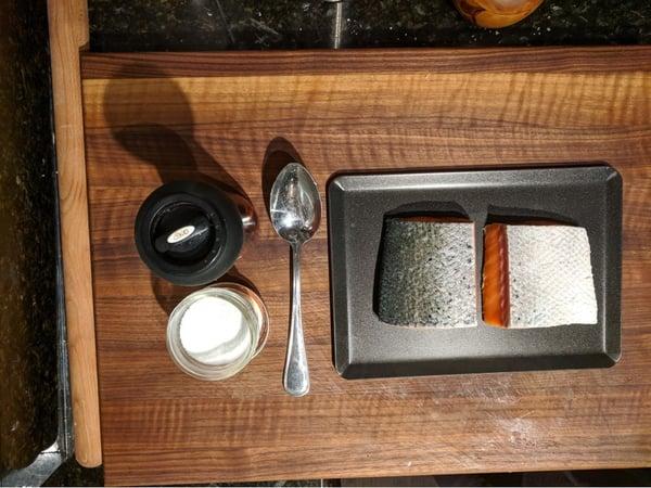 salmon skin tray