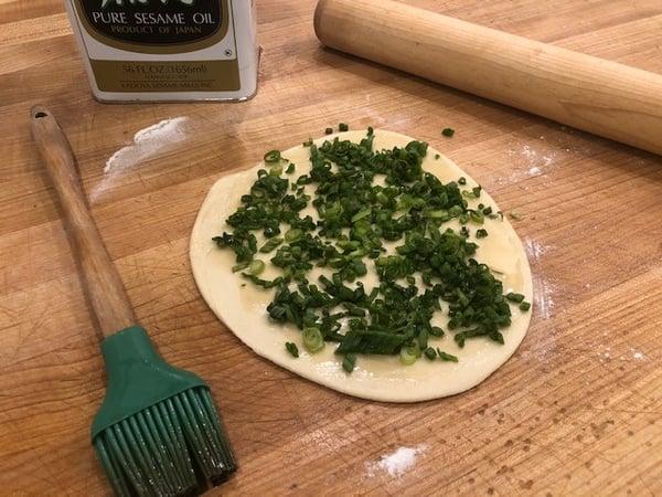 scallions on dough