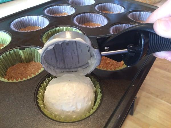 scooping cupcake batter