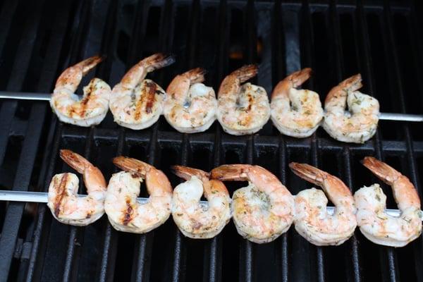 shrimp skewers on grill