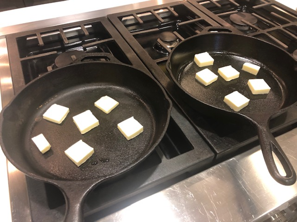 skillets with butter