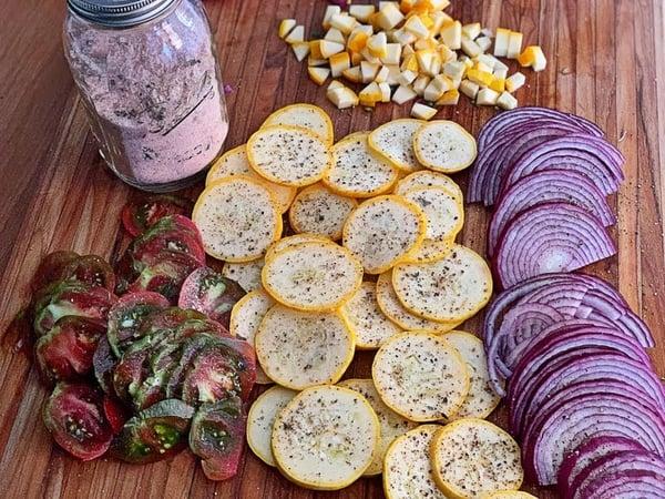 sliced veggies