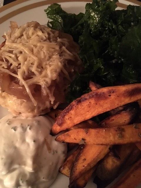 sweet potatoes and turkey burger