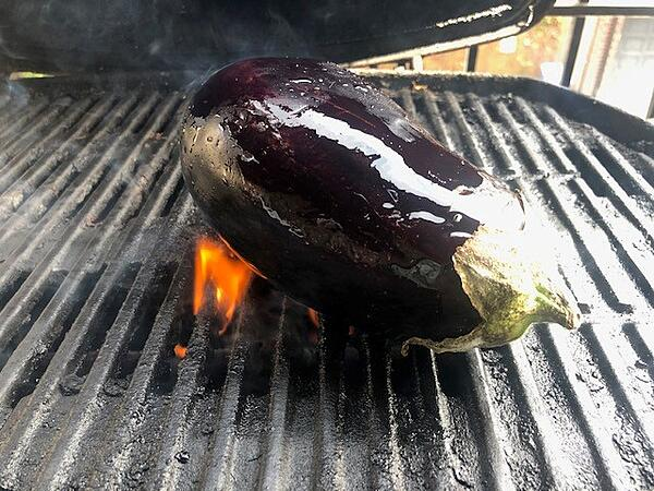 whole eggplant on grill