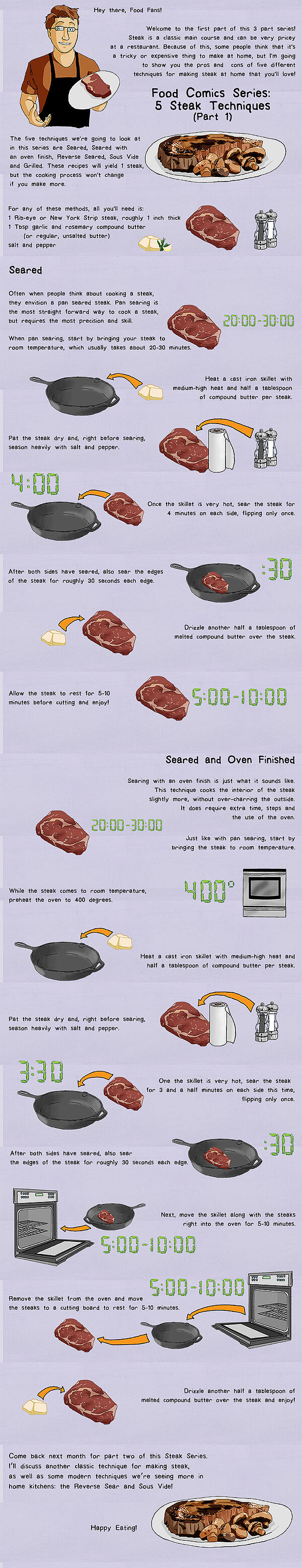 Hey there, Food Fans! Welcome to the first part of this 3 part series! Steak is a classic main course and can be very pricey at a restaurant. Because of this, some people think that it's a tricky or expensive thing to make at home, but I'm going to show you the pros and cons of five different techniques for making steak at home that you'll love! Food Comics Series: 5 Steak Techniques (Part 1) The five techniques we're going to look at in this series are Seared, Seared with an oven finish, Reverse Seared, Sous Vide and Grilled. These recipes will yield 1 steak, but the cooking process won't change if you make more. For any of these methods, all you'll need is: 1 Rib-eye or New York Strip steak, roughly 1 inch thick 1 Tbsp garlic and rosemary compound butter (or regular, unsalted butter) salt and pepper Seared Often when people think about cooking a steak, they envision a pan seared steak. Pan searing is the most straight forward way to cook a steak, but requires the most precision and skill. When pan searing, start by bringing your steak to room temperature, which usually takes about 20-30 minutes. Heat a cast iron skillet with medium-high heat and half a tablespoon of compound butter per steak. Pat the steak dry and, right before searing, season heavily with salt and pepper. Once the skillet is very hot, sear the steak for 4 minutes on each side, flipping only once. After both sides have seared, also sear the edges of the steak for roughly 30 seconds each edge. Drizzle another half a tablespoon of melted compound butter over the steak. Allow the steak to rest for 5-10 minutes before cutting and enjoy! Seared and Oven Finished Searing with an oven finish is just what it sounds like. This technique cooks the interior of the steak slightly more, without over-charring the outside. It does require extra time, steps and the use of the oven. Just like with pan searing, start by bringing the steak to room temperature. While the steak comes to room temperature, preheat the oven to 400 degrees. Heat a cast iron skillet with medium-high heat and half a tablespoon of compound butter per steak. Pat the steak dry and, right before searing, season heavily with salt and pepper. One the skillet is very hot, sear the steak for 3 and a half minutes on each side this time, flipping only once. After both sides have seared, also sear the edges of the steak for roughly 30 seconds each edge. Next, move the skillet along with the steaks right into the oven for 5-10 minutes. Remove the skillet from the oven and move the steaks to a cutting board to rest for 5-10 minutes. Drizzle another half a tablespoon of melted compound butter over the steak and enjoy! Come back next month for part two of this Steak Series. I'll discuss another classic technique for making steak, as well as some modern techniques we're seeing more in home kitchens: the Reverse Sear and Sous Vide! Happy Eating!