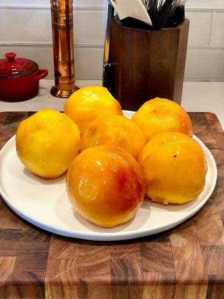 peeled blanched shocked peaches