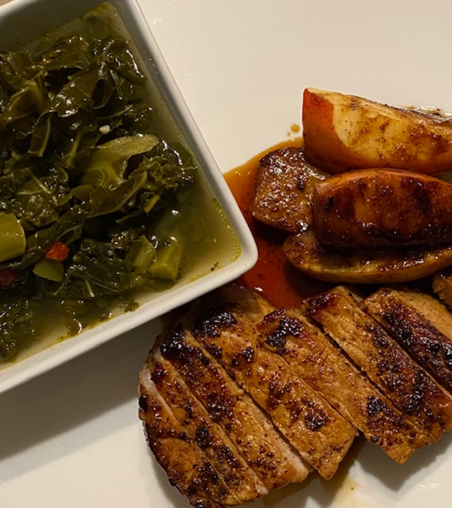 Apple Butter Pork Chops with Spicy Kale Greens