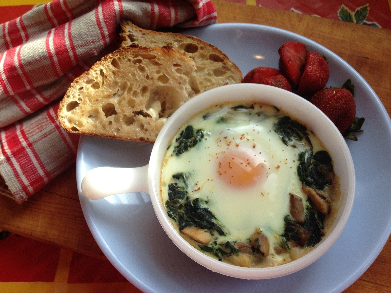 Baked Eggs in a Green Bomb Nest