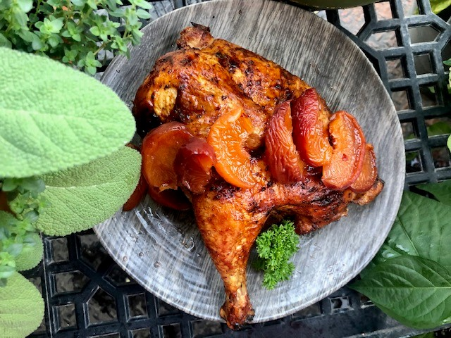 Hard Cider Can Chicken with Spicy Pickled Peaches