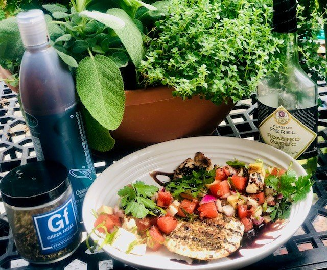 Grilled Greek Chicken with Watermelon and Halloumi Salad