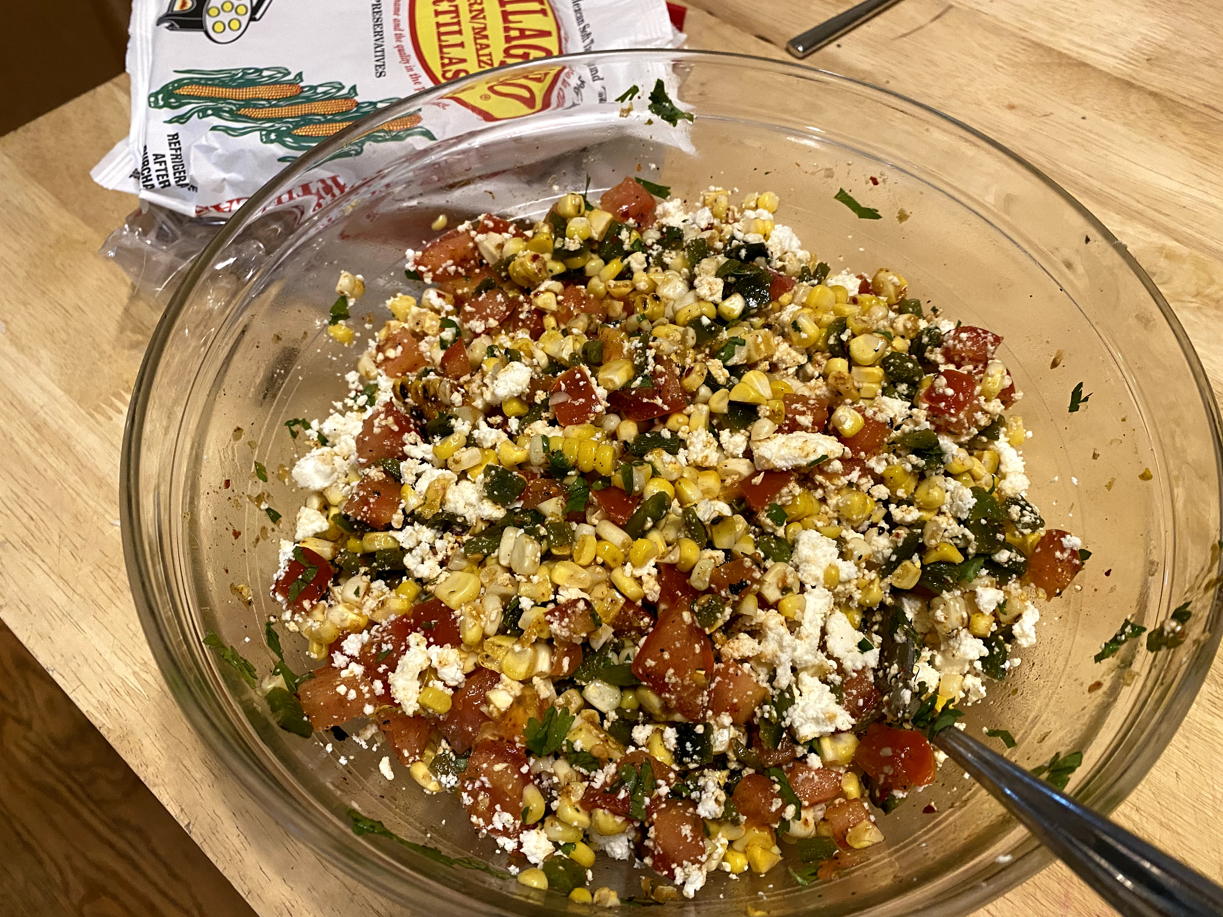 Grilled Corn Salad with Tomatoes, Roasted Poblano Peppers and Queso Fresco