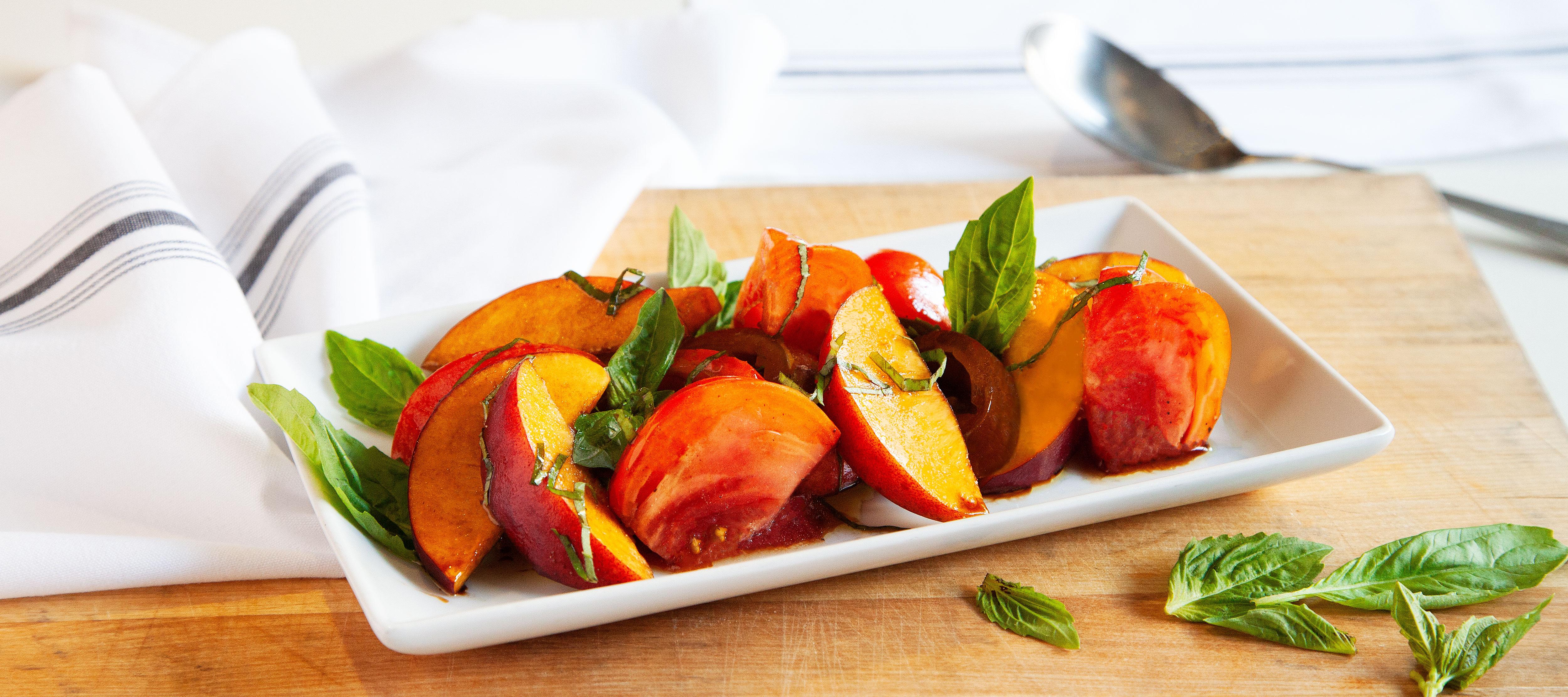 Tomato, Peach and Basil Salad with Balsamic Vinegar